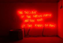 Margherita Moscardini, The Decline of the Nation State and the End of the Rights of Man, 2018. Installation view in Plovdiv, 2018