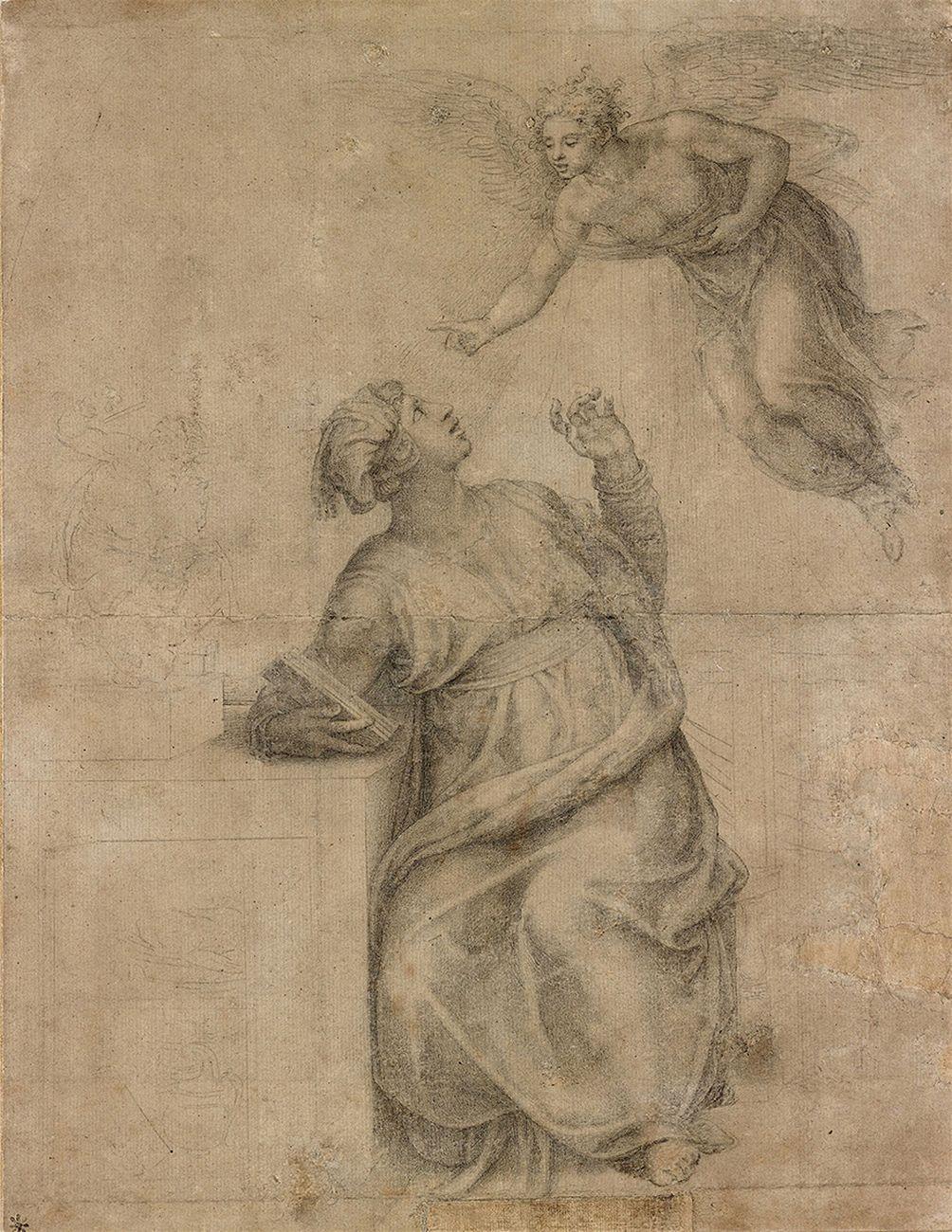 Michelangelo Buonarroti, L'Annunciazione, 383 x 297 mm, riproduzione. New York, Pierpont Morgan Library