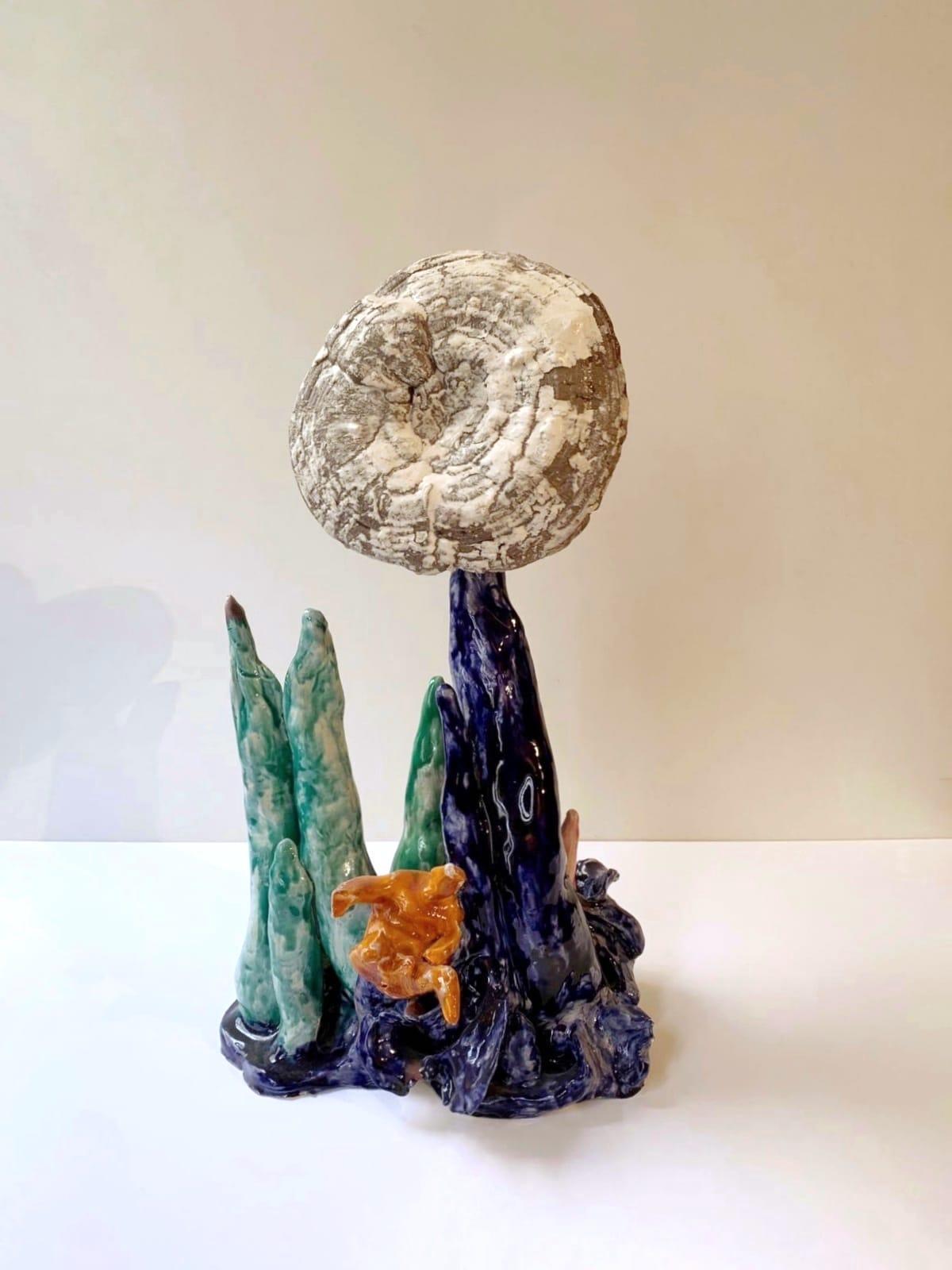 Michele Ciacciofera, Earth Island #2, 2018, glazed ceramic, dried ganoderma lucidum, acrylic, 53x29x29 cm