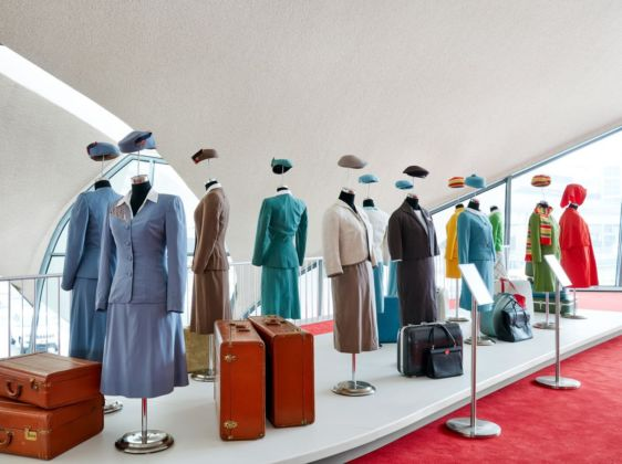 Rare vintage TWA air hostess uniforms are part of museum exhibitions curated by the New York Historical Society at the TWA Hotel. Photo credits TWA Hotel – David Mitchell