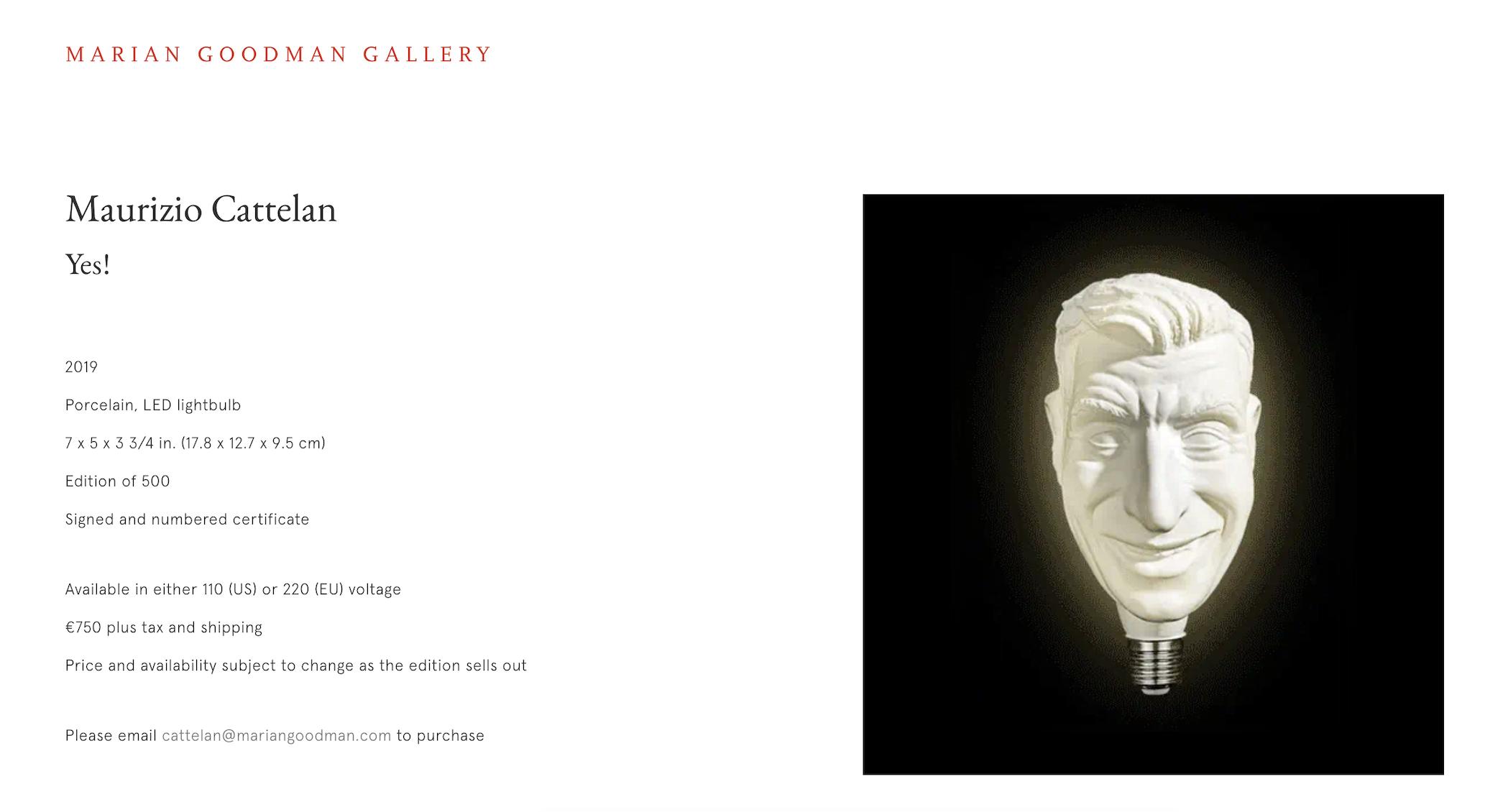 Sito web Marian Goodman Gallery - la lampadina Yes! di Maurizio Cattelan
