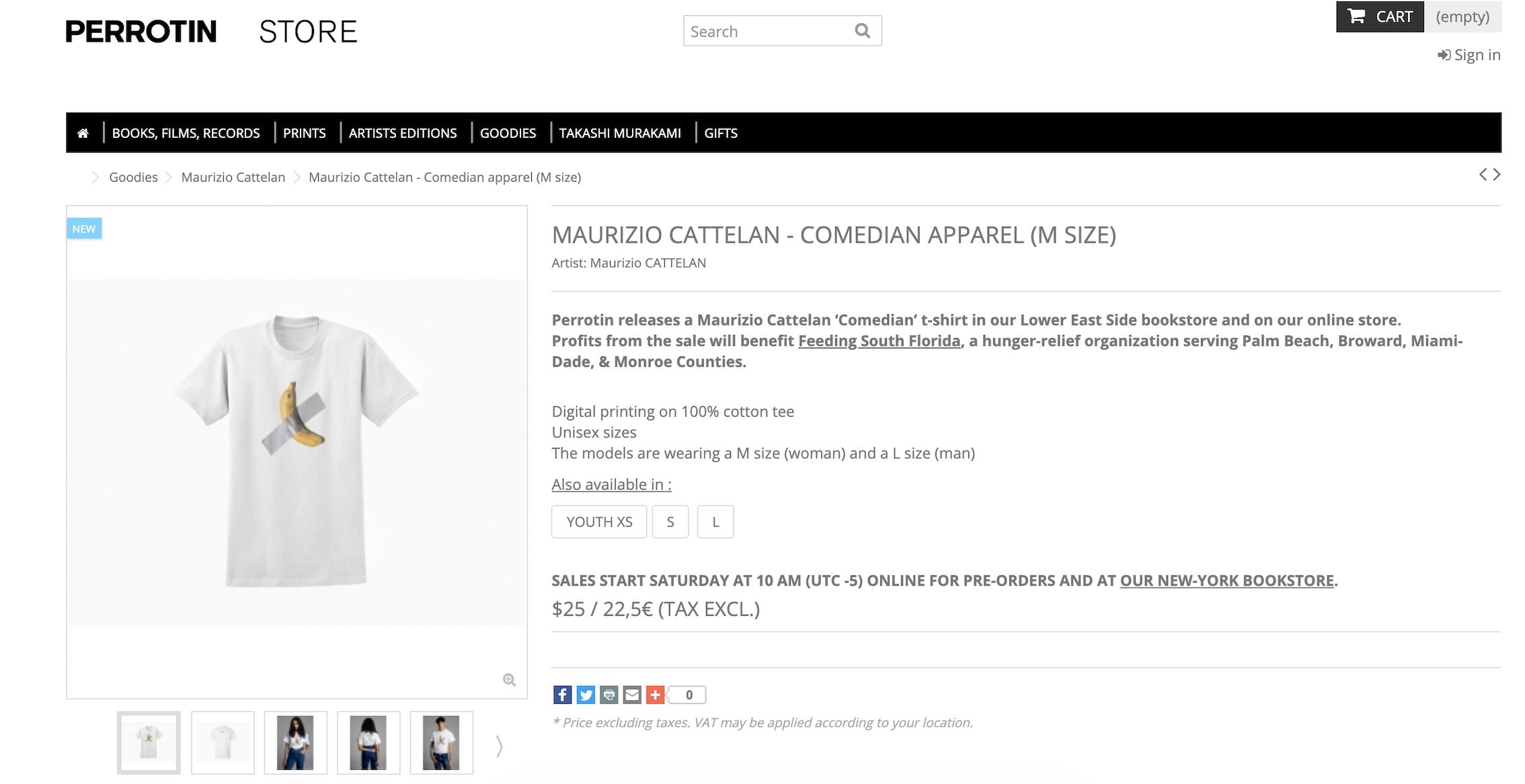 Sito del Perrotin store - la Comedian T-shirt di Maurizio Cattelan