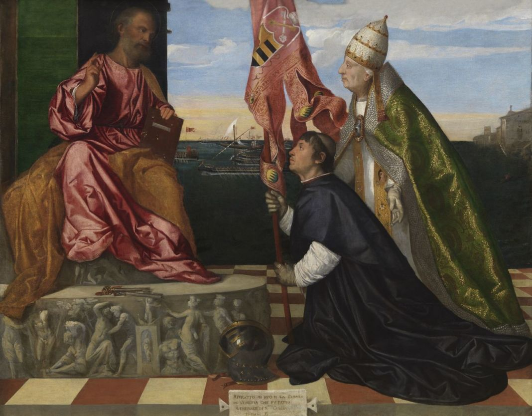 Tiziano Vecellio, Jacopo Pesaro presentato a San Pietro da Papa Alessandro VI, 1511-1513 ca. Royal Museum of Fine Arts Antwerp (KMSKA) © Royal Museum of Fine Arts Antwerp www.lukasweb.be – Art in Flanders, photo Hugo Maertens