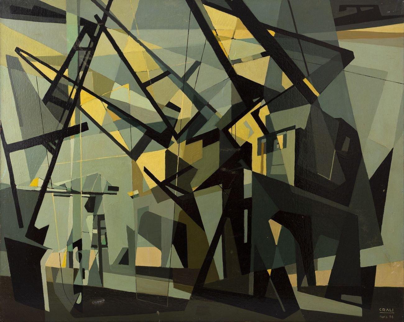 Tullio Crali, Structures portuaires (Nantes), 1954. Collezione privata