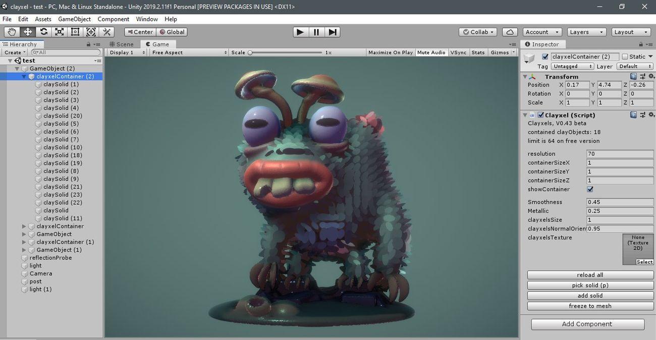 Una schermata di Clayxels, strumento per la modellazione 3D per videogiochi sviluppato da Andrea Interguglielmi