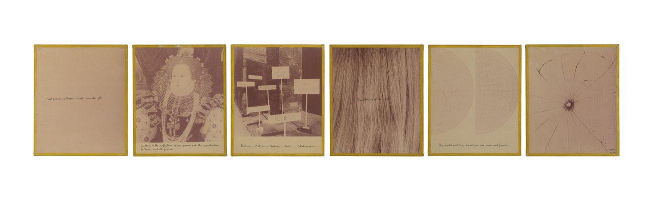 Vincenzo Agnetti, Elisabetta d'Inghilterra, 1976, china, tele emulsionate e dipinte 6 elementi di 61x51 cm. Courtesy Building