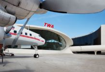"Wind beneath her wings! The TWA Hotel's 1958 Lockheed Constellation ""Connie"" airplane has been transformed into a cocktail lounge. Photo credits TWA Hotel – David Mitchell"