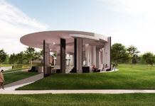 Serpentine Pavilion 2020 designed by Counterspace, Design Render, Exterior View © Counterspace