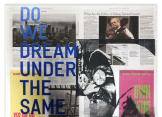 Rirkrit Tiravanija, Tomas Vu Do we dream under the same sky Completato nell'anno 2019 Giornale e serigrafia 55,9 x 61 cm Courtesy l'artista