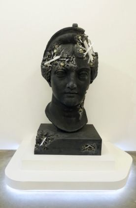 Daniel Arsham, Ash and Pyrite Eroded head of Lucille, 2019