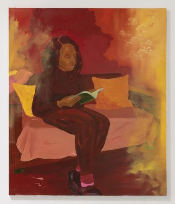 Dominic Chambers, Kathia in red (reader), 2019. Courtesy l'artista & Luce Gallery, Torino