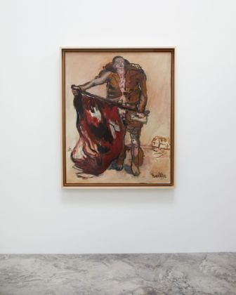 Georg Baselitz, Mit Roter Fahne (With a Red Flag), 1965. Installation view at Faurschou New York, 2019. Photo Ed Gumuchian © Faurschou Foundation