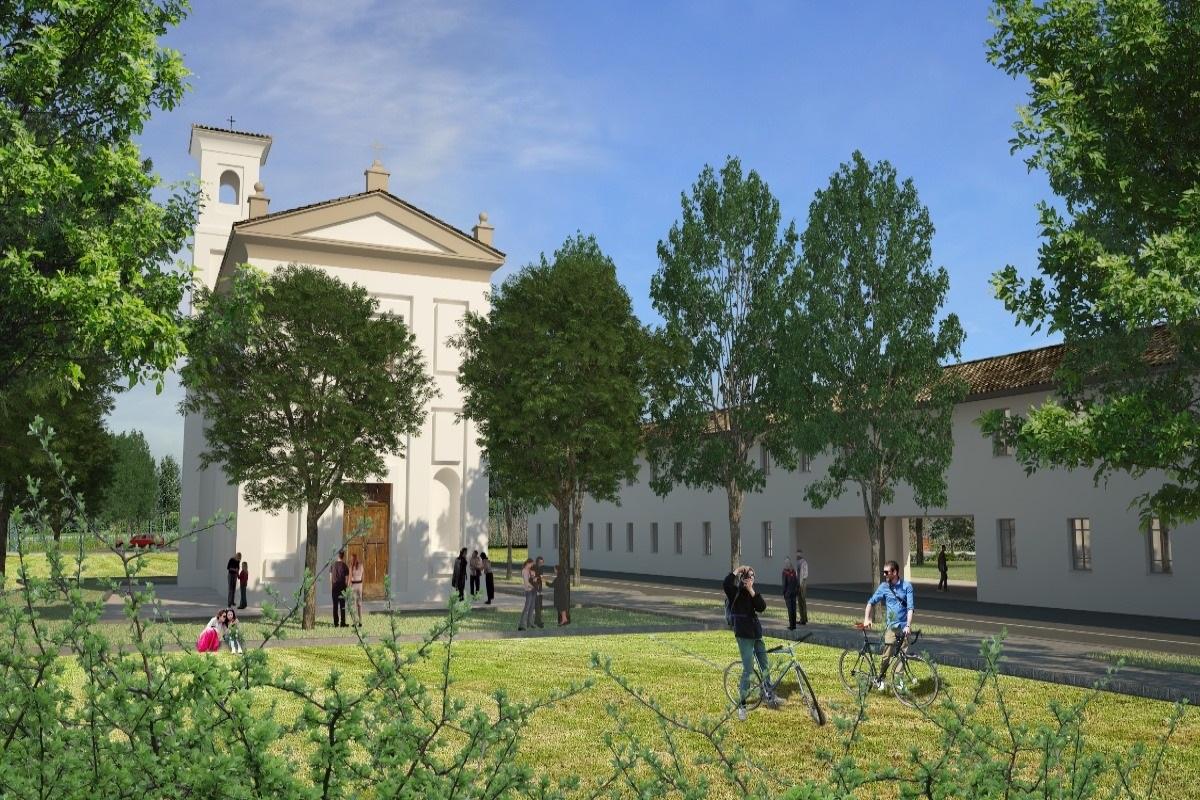 Il rendering del Comune di Milano della chiesa di Macconago restaurata