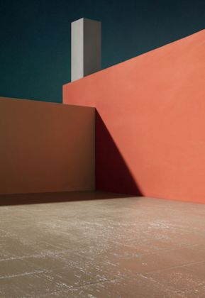 James Casebere, Courtyard with Orange Wall, 2017