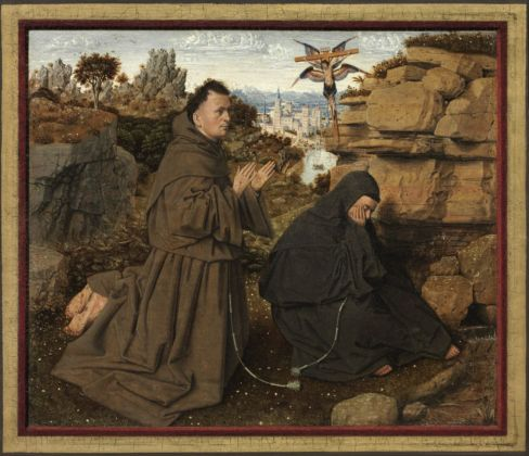 Jan van Eyck, San Francesco d'Assisi riceve le stigmate, 1430-32. Philadelphia Museum of Art