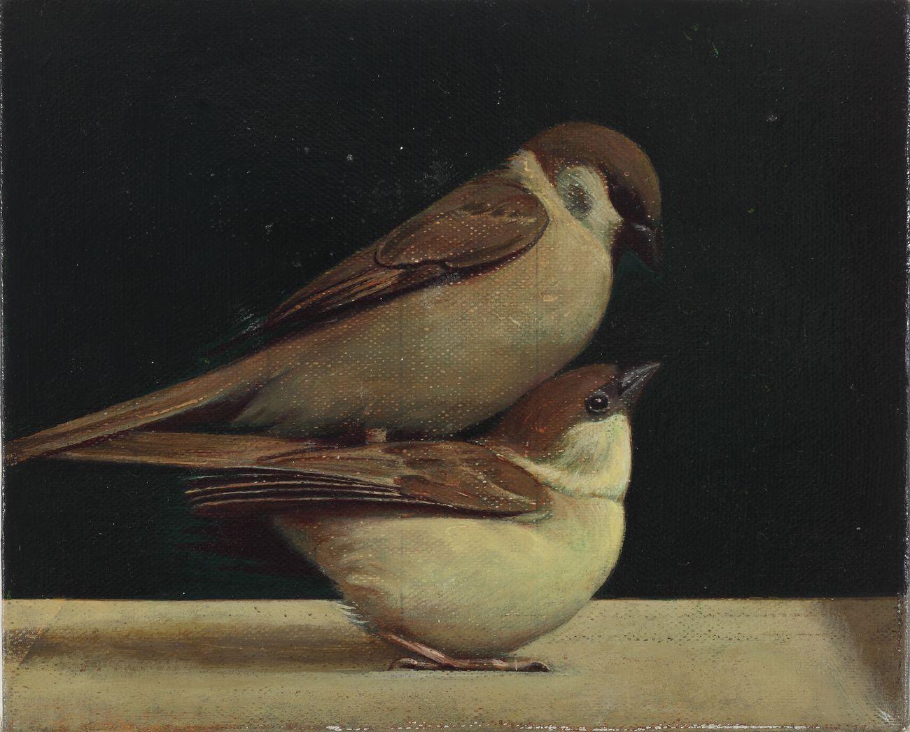 Liu Ye, Bird on Bird , 2011, acrilico su tela, 22 x 28 cm. Wang Bing Collection, Beijing. Courtesy Fondazione Prada