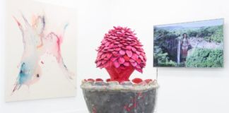 Mother Art Prize Group Show 2019 at Mimosa House. Sculpture by Candida Powell-Williams, The Fountain of Tongues. Painting by Clare Price, f.s.l. Video by Jessica Lauren Elizabeth Taylor Muttererde