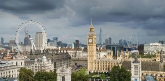 Palace of Westminster from the dome via Wikipedia