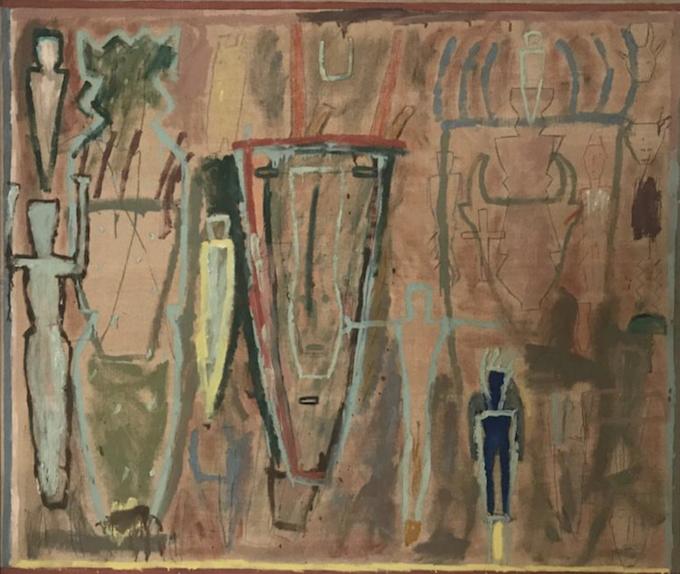 James Brown,St. Bartolomeo I, 1984. Oil, enamel and graphite on linen 73 × 85 1/5 in 185.4 × 216.5 cm Courtesy: Scaramouche loves Aline, Milano