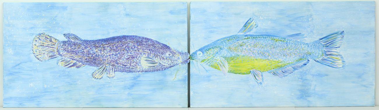 Violette Maillard_ Two electric catfishes kissing, 2019, dittico, acrilico su tela, 282x50 cm