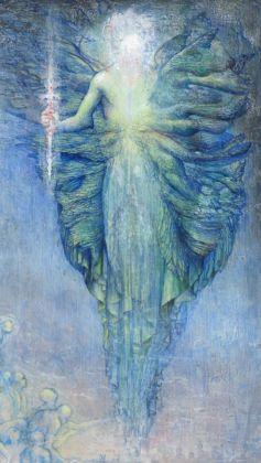 Agostino Arrivabene, illustrazione per la Divina Commedia, Canto VIII Purgatorio (I due verdi angeli della valletta dei principi negligenti)