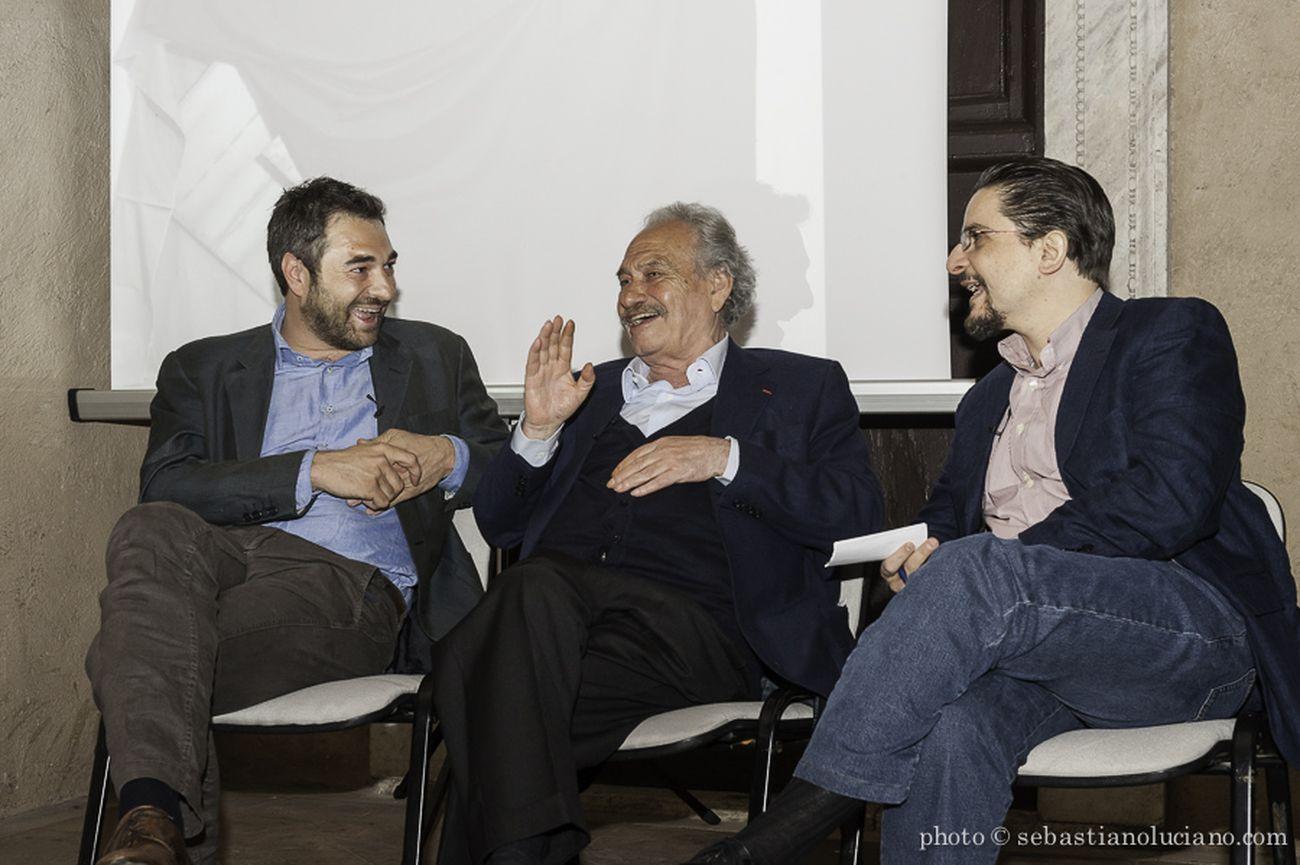 I Martedì Critici. Alberto Dambruoso, Jannis Kounellis e Guglielmo Gigliotti. Photo Sebastiano Luciano
