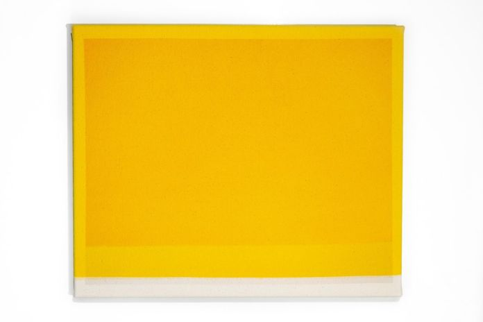 Mathew McWilliams, Underlay, yellow, 2019, pittura e stampa inkjet su tela, cm 38x31,5