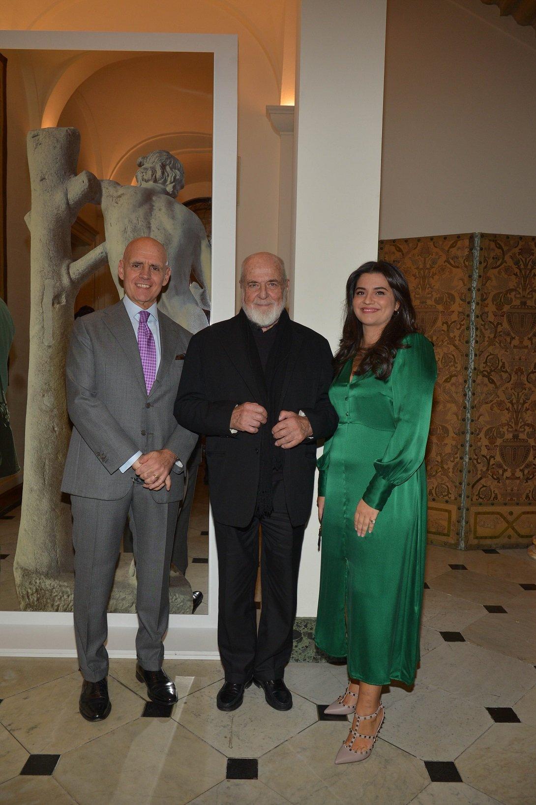 Michelangelo Pistoletto, l'Ambasciatore Raffaele Trombetta e Francesca Dell'Apa all'evento Italy at Frieze