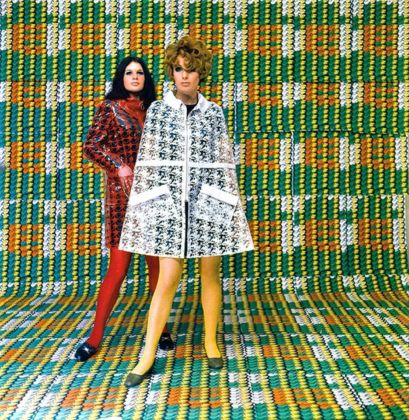 Models wearing coats designed by Lukowski + Ohanian with textile pattern by Thomas Bayrle, Galleria Apollinaire, Milano 1967–68. Photo Christian Roeder