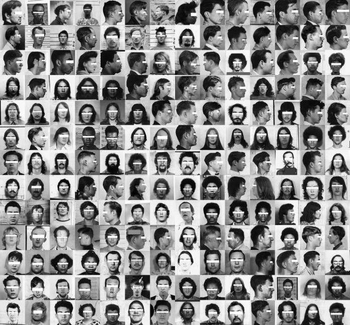 Trevor Paglen, Detail view of They Took the Faces from the Accused and the Dead... (SD18), 2019 © Trevor Paglen, Courtesy of the Artist and Altman Siegel, San Francisco