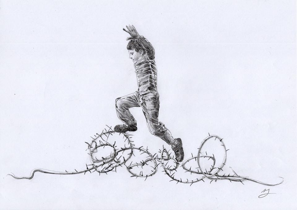Un disegno di Andrea Mastrovito dal ciclo Le sette opere di misericordia