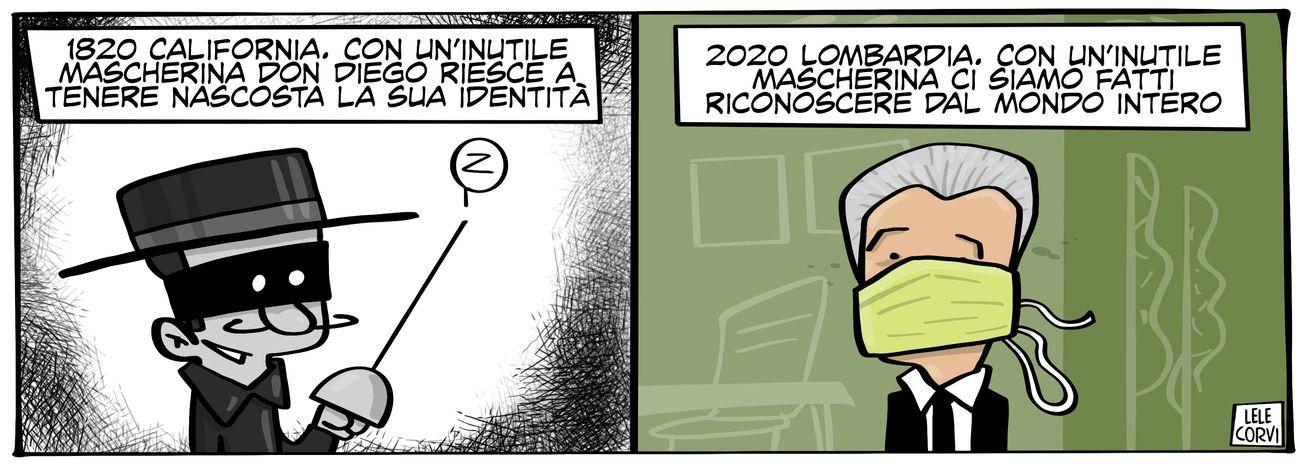Una vignetta di Lele Corvi per Popoff Quotidiano. Courtesy l'artista