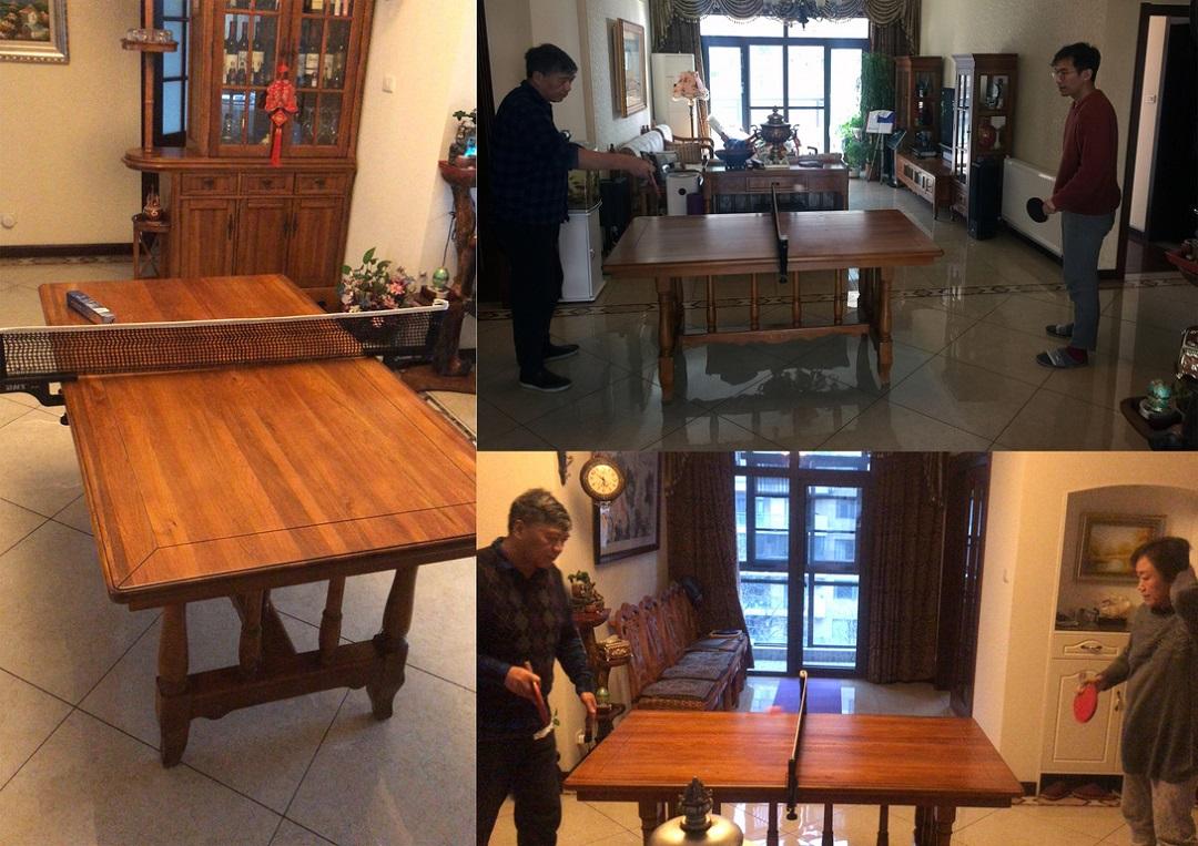 图 Il tavolo da preanzo di Feng Chen allestito come campo da ping pong