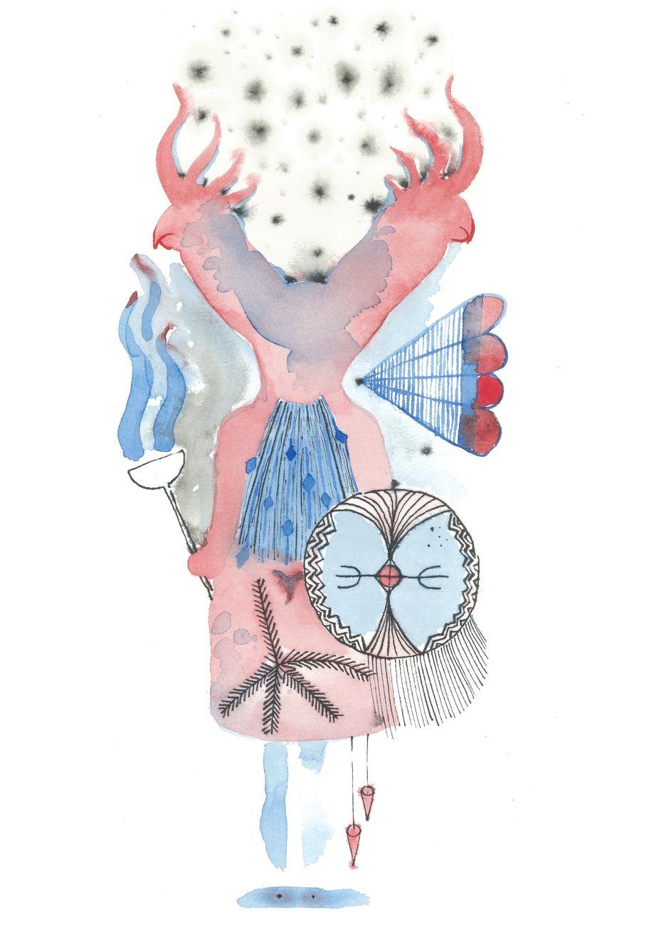 Laura Cionci, Cacatuapower (2020), acquarello e china su carta, 21 x 35 cm