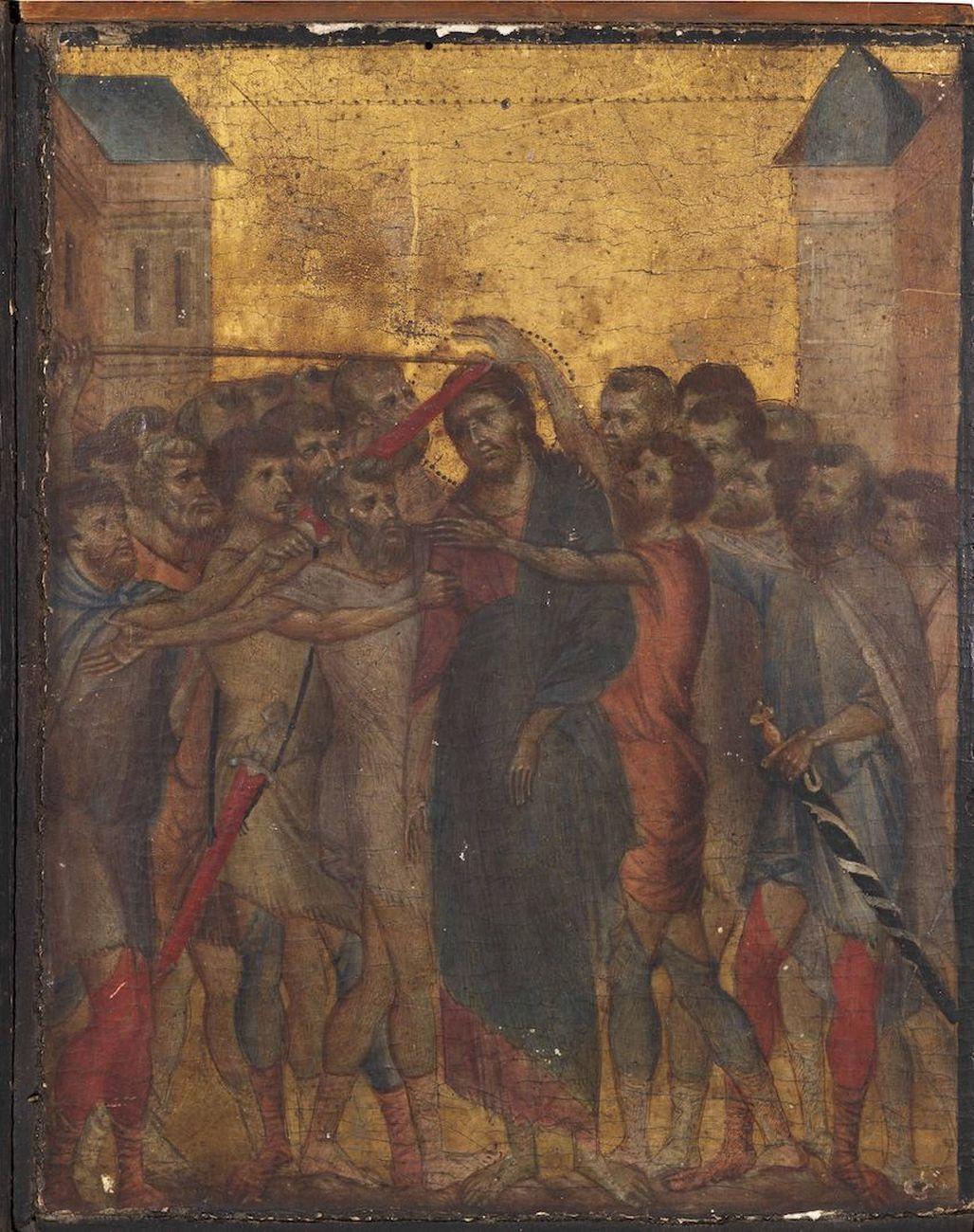 Cimabue, Cristo deriso, 1280, tempera su fondo oro su una tavola di legno di pioppo, 25,8x20,3 cm, collezione privata