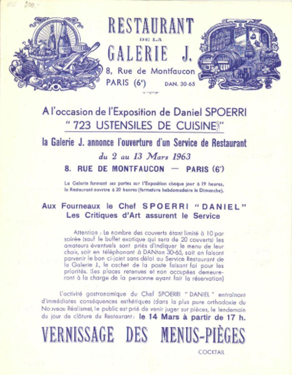 Daniel Spoerri, invitation-menu. Restaurant de la Galerie J. Paris, Galerie J, Parigi 1963. Archiv der Avantgarden, Staatliche Kunstsammlungen, Dresda © VG Bild-Kunst, Bonn