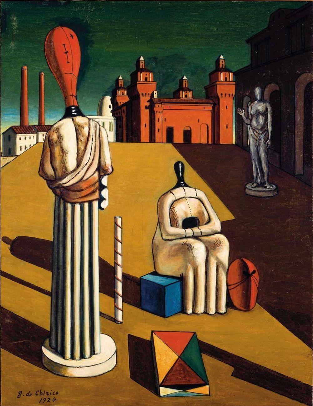 Giorgio de Chirico, Le muse inquietanti, 1974, olio su tela, 65x50 cm, Fondazione Giorgio e Isa de Chirico Roma