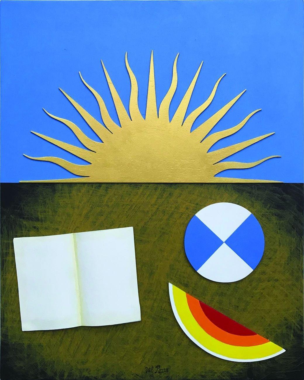 Lucio Del Pezzo, Sole, 2008, acrilici e foglia d'oro su legno, 50x40 cm, courtesy Galleria Lombardi, Roma