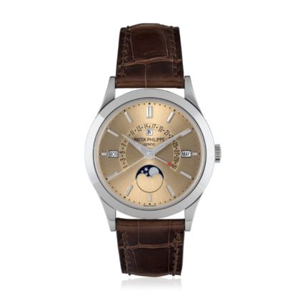 Patek Philippe. A platinum automatic perpetual calendar wristwatch with sweep centre seconds, retrograde date, moon phases and leap year indication. Courtesy Christie's
