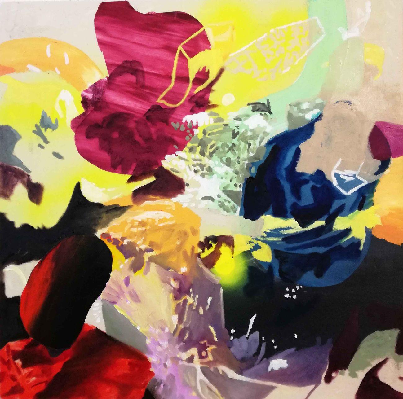 Zanbagh Lotfi, Tu tienimi (I'm just killing time), 2019, olio su tavola, 45x45 cm