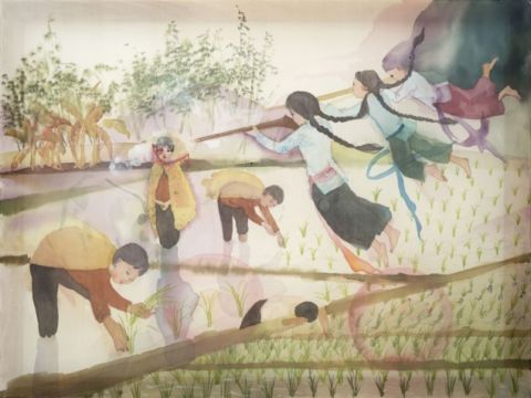 "Thao Nguyen Phan, ""The execution"" (from the series ""Dream of March and August""), 2019, Watercolour on silk, 60 x 80 cm. Courtesy of Thao Nguyen Phan, c/o The Factory, Contemporary Arts Centre."