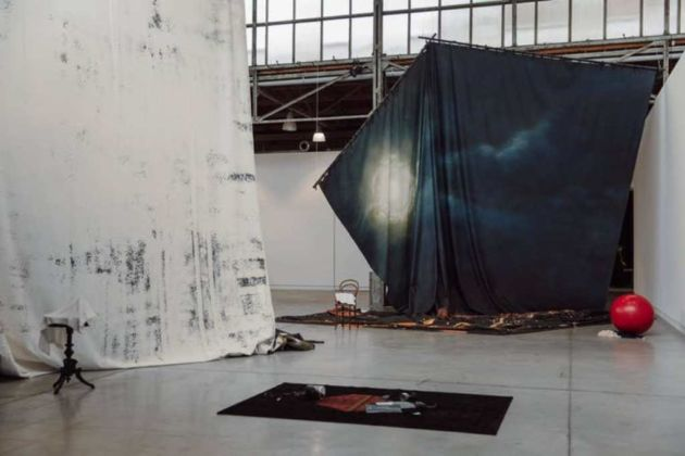 Latifa Echakhch, The-sun-and-the-set, 2020, installation view, Musée d'art de la Province de Hainaut, Charleroi. Photo Leslie Artamonow