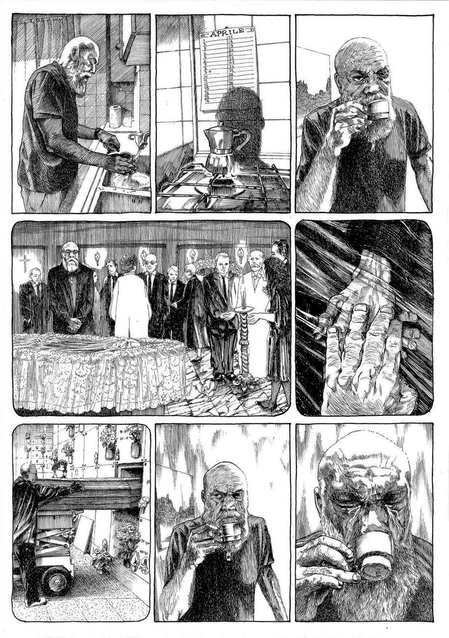 """Alessandro Gori & Marco Pace, disegni per """"L'età dei mortali"""", 2020, china su carta"""