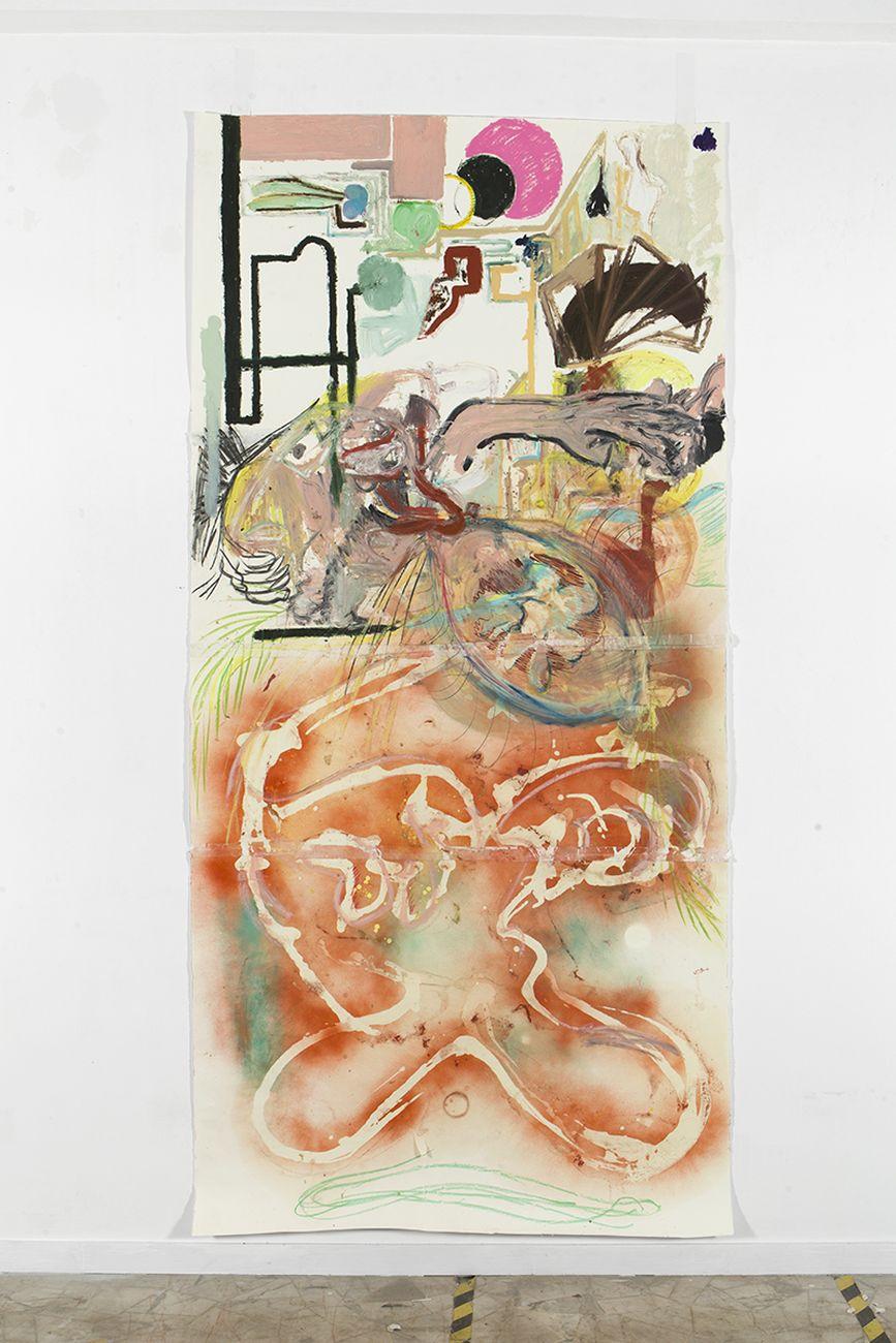 Pesce Khete, Untitled, 2019 20, oilstick, pittura spray, pastelli secchi, olio d'argan, grafite, carboncino e artist tape su carta di cotone, cm 293x140