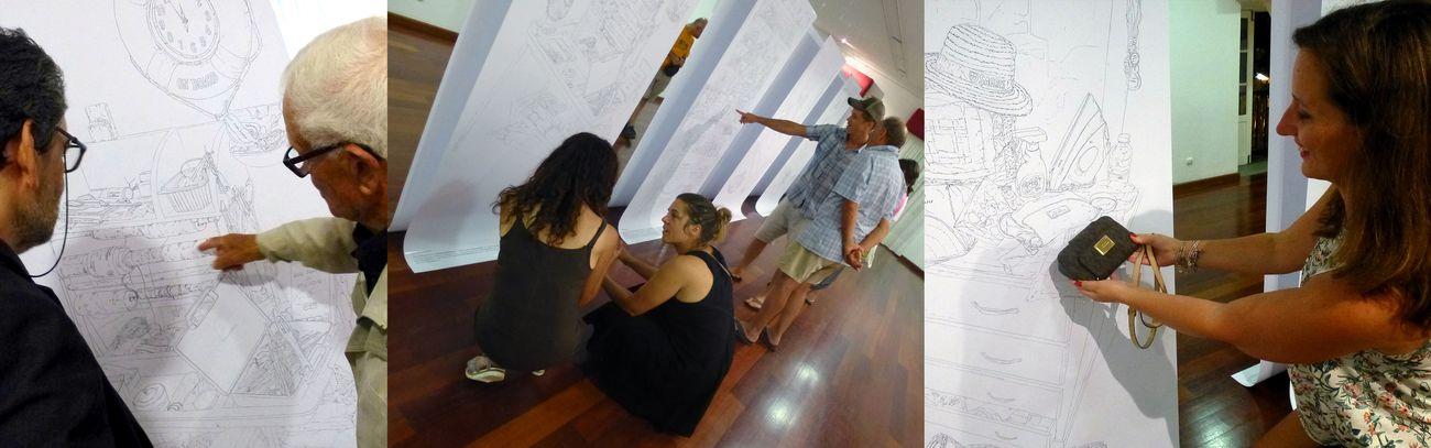 """Premiata Ditta, Profiles, durante la mostra i partecipanti """"raccontano"""" agli altri visitatori i propri oggetti raffigurati nei disegni"""