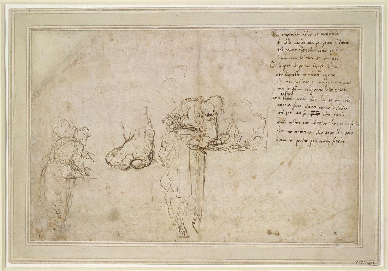 Raffaello, Studi per la Disputa del Sacramento e un sonetto, 1509-11 ca., penna e inchiostro. Londra, The British Museum, department of Prints and Drawings © The Trustees of the British Museum