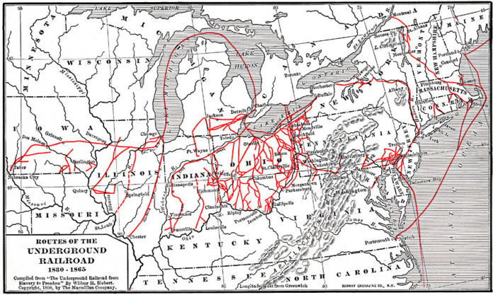 Routes of the Underground Railroad 1830 1865