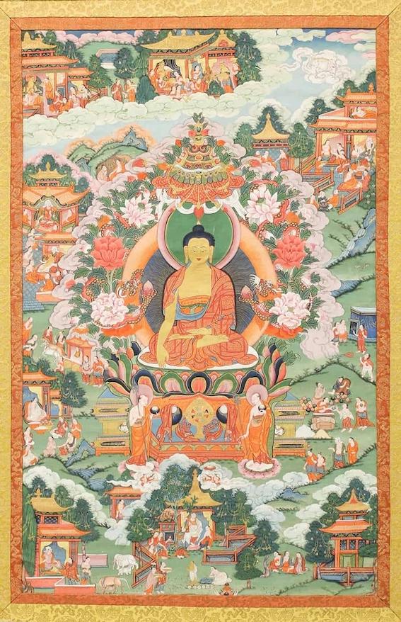 Thanka con Buddha, tempera su tela, 84.1 x 53 cm. Tibet, XIX sec. The Metropolitan Museum of Art, New York, USA