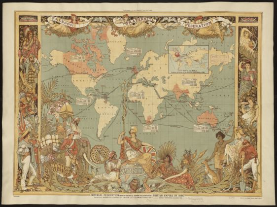 Walter Crane, Map of the world showing the extent of the British Empire in 1886, litografia, McClure and Co 1886
