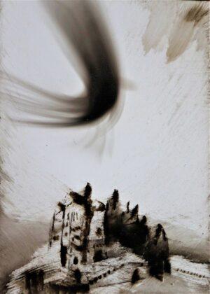 Andrea Chidichimo, Senza titolo, fuliggine e olio su lastra, 14x10 cm